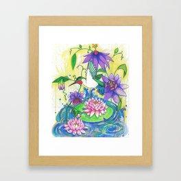 Lotus Hummingbird  Framed Art Print