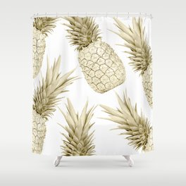 Gold Pineapple Bling Shower Curtain