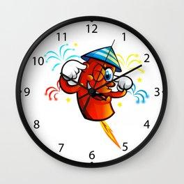 Red Cartoon fireworks  Wall Clock