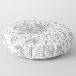Tropical Leaves in Black and White Floor Pillow