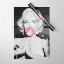 Bubble Gum Marilyn pop art portrait black and white photography - black and white photographs Wrapping Paper