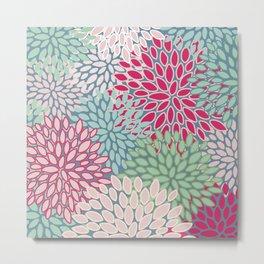 Floral Prints, Bright Pink, Teal and Green, Modern Print Art Metal Print