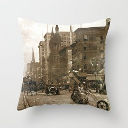 Vintage Bike Lady Throw Pillow
