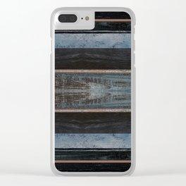 Dark Blue Black Wood Texture Stripe Design Clear iPhone Case