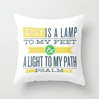 bible verses Throw Pillows featuring Psalm 119:105 Bible Verses by Tony D'Amico