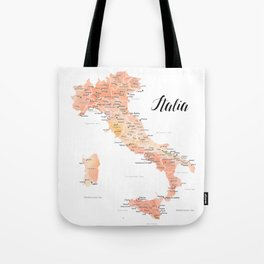 Rose gold Italy map in watercolor Tote Bag