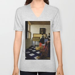 Johannes Vermeer - Lady at the Virginal with a Gentleman, 'The Music Lesson' Unisex V-Neck