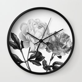 grayscale roses Wall Clock