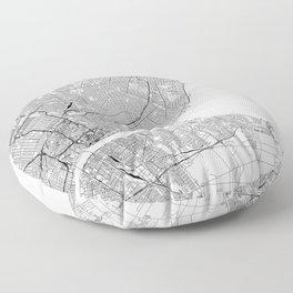 Detroit White Map Floor Pillow