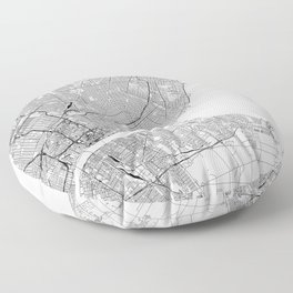 Detroit White Map Floor Pillow