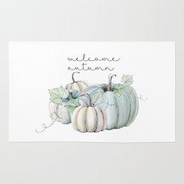 welcome autumn blue pumpkin Rug