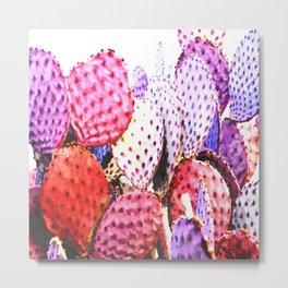 Purple cactus illustration Metal Print
