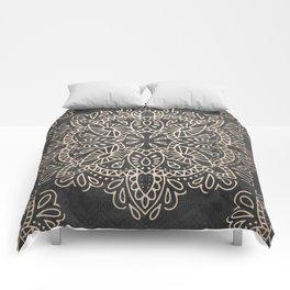 Mandala White Gold on Dark Gray Comforters