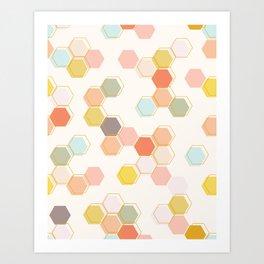 Honeycomb - Sweet Cream Art Print