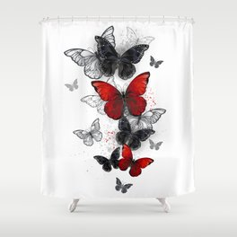 Flying Black and Red Morpho Butterflies Shower Curtain
