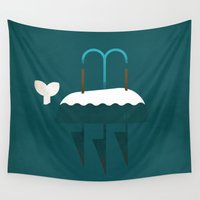 moby dick Wall Tapestries featuring Moby Dick by Christian Jackson