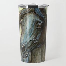 Black arabian horse portrait Travel Mug