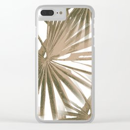 Brown on White Tropical Vibes Beach Palmtree Vector Clear iPhone Case