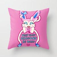 sylveon Throw Pillows featuring fairy sylveon  by deerboywonder
