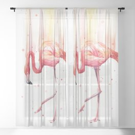 Pink Flamingo Watercolor Tropical Bird Sheer Curtain