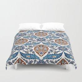 Iznik Tile Pattern Blue White Brown Duvet Cover