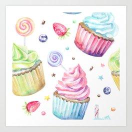 Cupcake Pattern Art Print