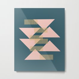 Modern Lines and Triangles Design in Blush, Teal, and Gold Metal Print