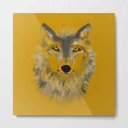 Wolf Face - Dark Gold Metal Print