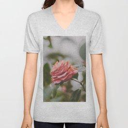 Coral Camellia Unisex V-Neck