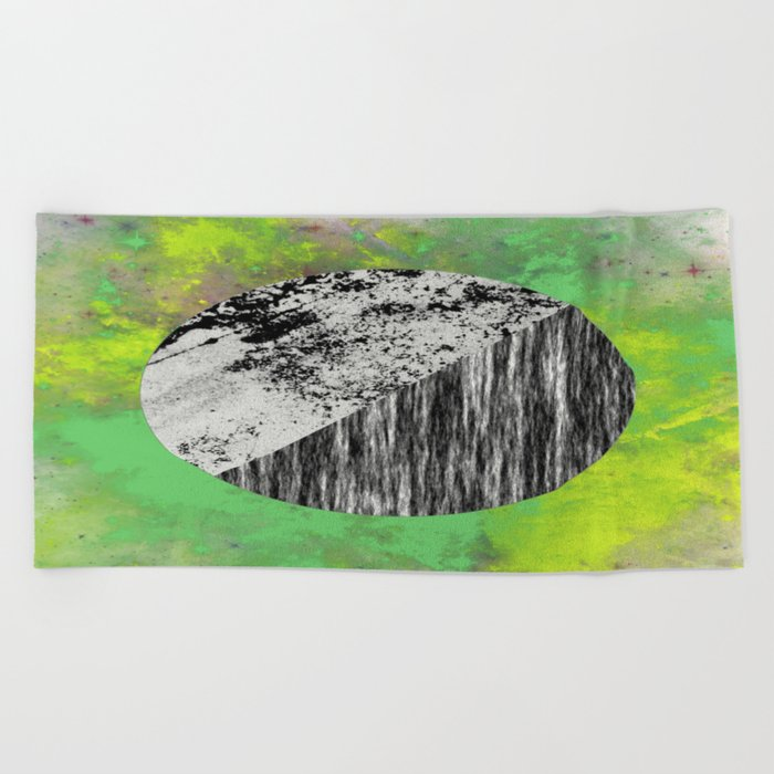 Devoid of Colour - Abstract, geometric, black and white, colour art Beach Towel