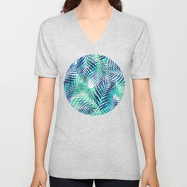 Palm Leaves - Indigo Green Unisex V-Neck