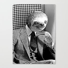 Gentleman Sloth Sitting Canvas Print