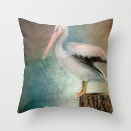 Perched Pelican Throw Pillow