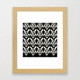 Art Deco Fans 1.3 Black Background Silver & Cream Framed Art Print