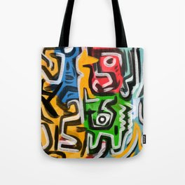 Primitive street art abstract Tote Bag