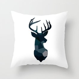 Blue Geometric Stags Antlers Throw Pillow