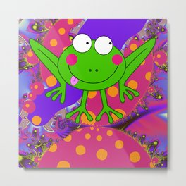 Funny Frog in a Funky World Metal Print