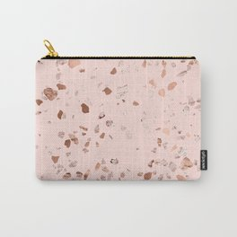 Rose Gold Pink Terrazzo Carry-All Pouch