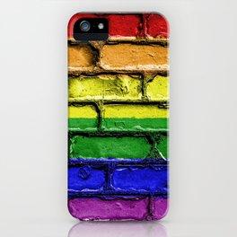 Colorful LGBT rainbow pride flag brick wall iPhone Case