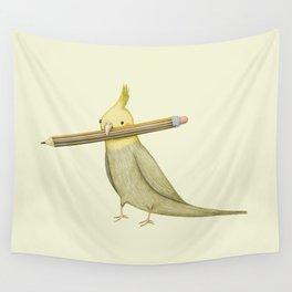 Cockatiel & Pencil Wall Tapestry
