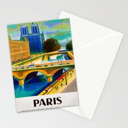 Vintage 1957 Paris River Seine & Notre-Dame Cathedral Travel Advertising Poster by Jacques Garamond Stationery Cards