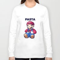pasta Long Sleeve T-shirts featuring Pasta Mario by Joel Hinojosa