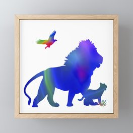 Lion and baby lion taking a stroll Framed Mini Art Print