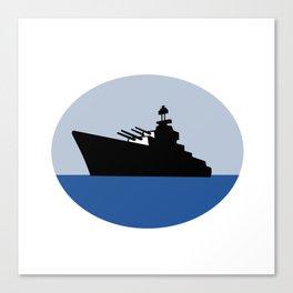 World War Two Battleship Destroyer Oval Retro Canvas Print