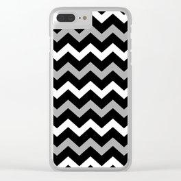 Black White & Grey Chevron Print Pattern Clear iPhone Case