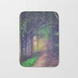 Magical forest watercolor painting Bath Mat