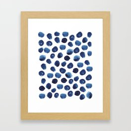 India - blue paint, ink spots, design, watercolor brush, dots, cell phone case Framed Art Print