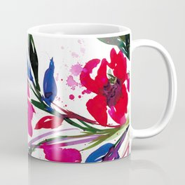 POCKETFUL OF POSIES 1, Colorful Summer Watercolor Floral Painting Abstract Red Blue Pink Flowers Art Coffee Mug