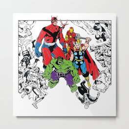 Avenged! Iron Man, Thor, Hulk, and gang Metal Print
