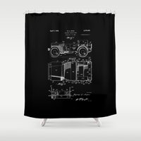 jeep Shower Curtains featuring Jeep: Byron Q. Jones Original Jeep Patent - White on Black by Elegant Chaos Gallery